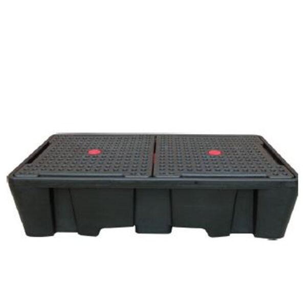 Bac de rétention PE 2 cubis noir avec caillebotis